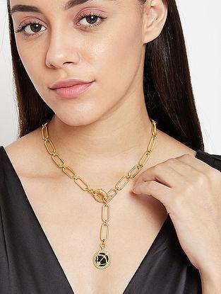 Sagittarius Gold Tone Enameled Pendant With Chain