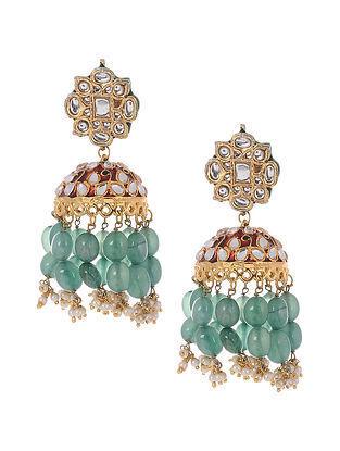 Green Red Gold Plated Kundan Jhumki Earrings
