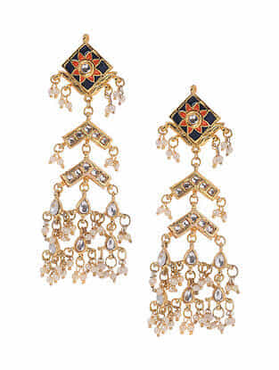 Blue Orange Gold Plated Kundan Earrings