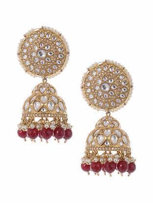 Red Gold Plated Kundan Jhumki Earrings