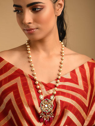 Pink Gold Plated Kundan Beaded Necklace