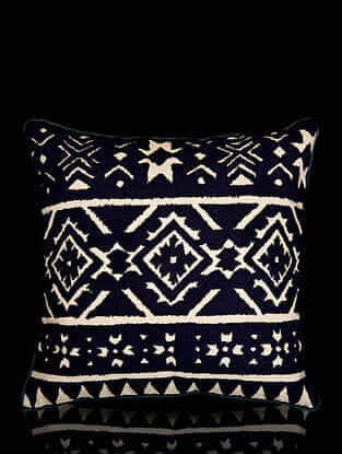 Multicolor Aari Work Cotton Cushion Cover (18in x 18in)