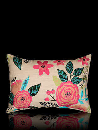 Multicolor Hand-Embroidered Cotton Linen Cushion Cover (18in x 12in)