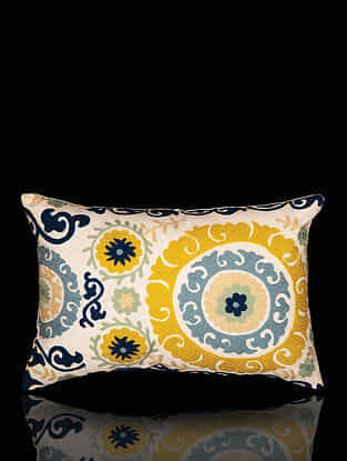 Multicolor Aari Work Cotton Cushion Cover (18in x 12in)