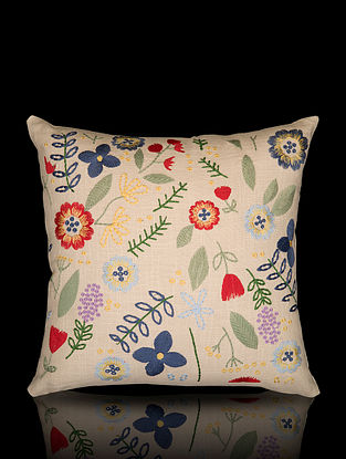 Multicolor Aari Work Cotton Cushion Cover (16in x 16in)