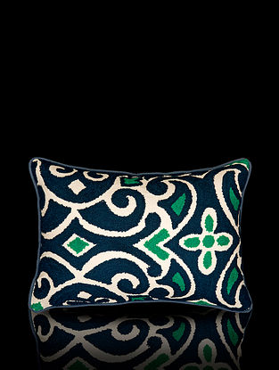 Blue and Green Aari Work Cotton Cushion Cover (18in x 12in)