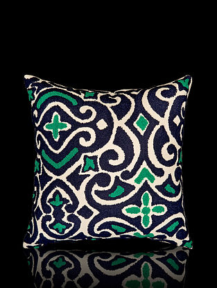Blue and Green Aari Work Cotton Cushion Cover (16in x 16in)