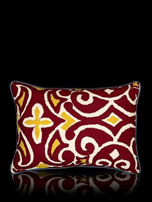 Maroon and Mustard Yellow Aari Work Cotton Cushion Cover (18in x 12in)