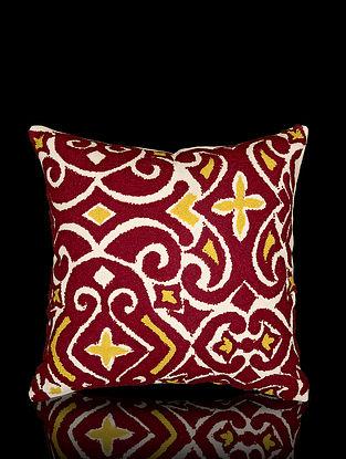 Maroon and Mustard Yellow Aari Work Cotton Cushion Cover (16in x 16in)