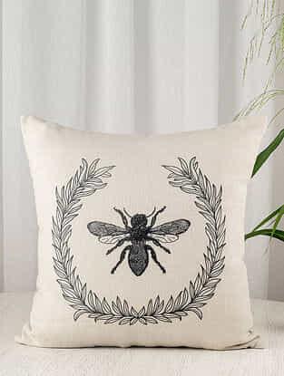 Honeybee Ecru Linen Blend Cushion Cover (18in x 18in)