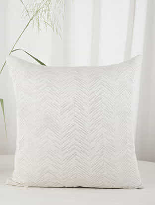 White and Gold Chevron in Linen Cushion Cover (20in x 20in)