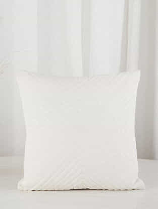 White Criss-Cross Quilted Velvet Cushion Cover (16in x 16in)