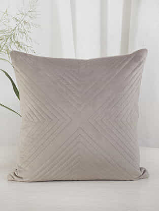 Beige Criss-Cross Quilted Velvet Cushion Cover (18in x 18in)