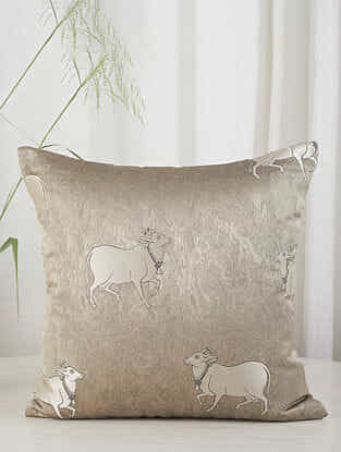 Gold Cow in the Village Cushion Cover (20in x 20in)