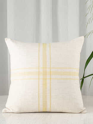 Yellow and White Gingham Cotton Cushion Cover (20in x 20in)