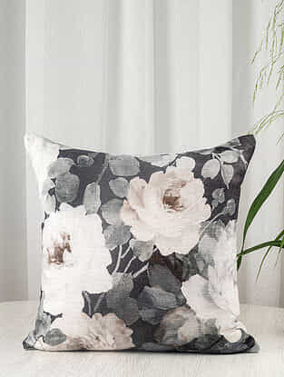 Grey Floral Linen Blend Cushion Cover (18in x 18in)