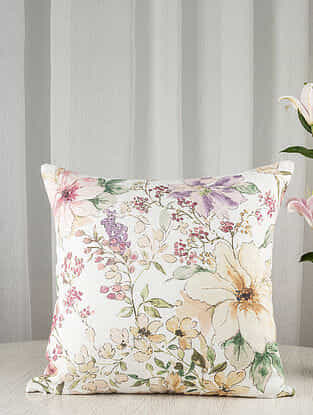 White and Pink Wildflower Ecru Linen Blend Cushion Cover (16in x 16in)
