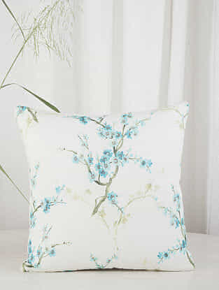 White and Blue Cherry Blossom Linen blend Cushion Cover (18in x 18in)