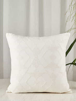 White on White Embroidered Linen-Cotton blend Cushion Cover (20in x 20in)