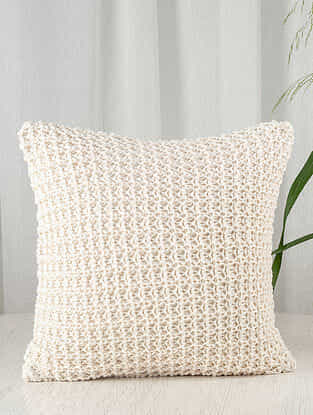 Ivory Crochet Cotton Blend Cushion Cover (16in x 16in)