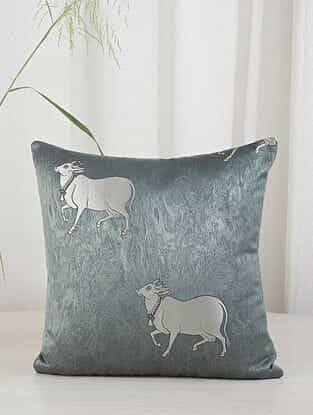Teal Cow in the Village Cushion Cover (16in x 16in)