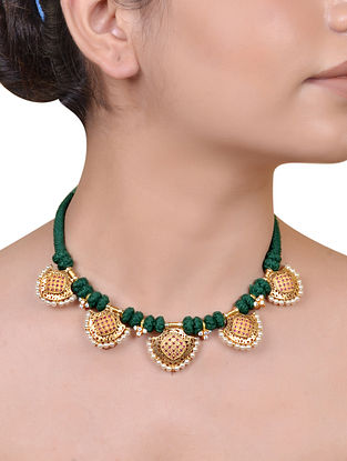 Red Green Gold Plated Silver Necklace