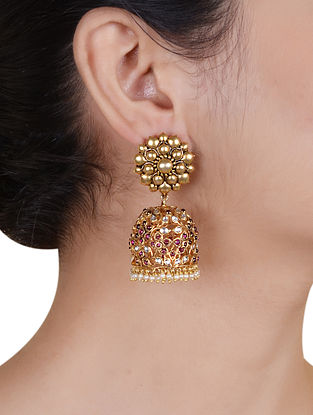 Gold Plated Silver Jhumki Earrings