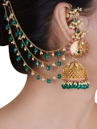 Green Gold Plated Silver Jhumki Earrings