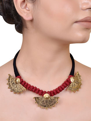 Red Black Gold Plated Silver Necklace