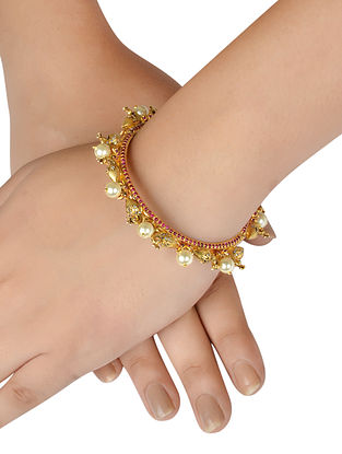 Red Gold Plated Silver Bangle with Pearls  (Size: 2/2)