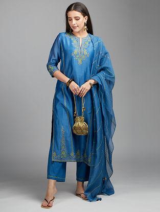 Blue Embroidered Cotton Chanderi Dupatta with Zari Tassels