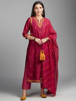 Deep Wine Embroidered Silk Chanderi Kurta