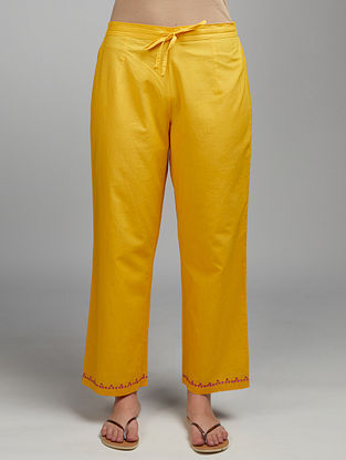 Mango Yellow Embroidered Cotton Pants