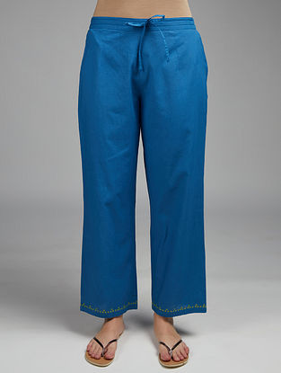 Blue Embroidered Cotton Pants
