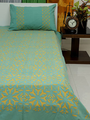 Blue and Mustard Yellow Handcrafted Applique Cotton Bedcovers with Pillow Covers