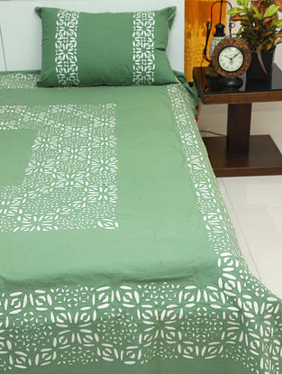 Green and Cream Handcrafted Applique Cotton Bedcovers with Pillow Covers