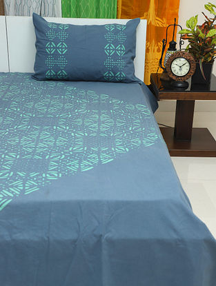 Teal Handcrafted Applique Cotton Bedcover with Pillow Covers