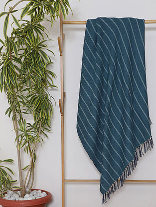 Teal Handwoven Cotton Throw (108in x 46in)