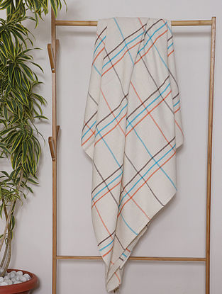 Cream Handwoven Cotton Throw (114in x 56in)