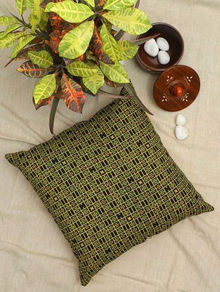 Olive and Black Ajrakh Hand-Printed Cotton Cushion Cover (16in x 16in)