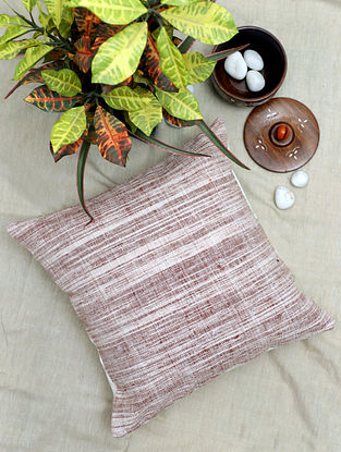 Brown and White Handwoven Khadi Cotton Cushion Cover (16in x 16in)