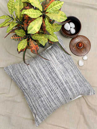 Black and White Handwoven Khadi Cotton Cushion Cover (16in x 16in)