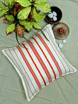 Cream and Red Handwoven Cotton Cushion Cover (16in x 16in)