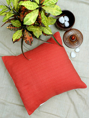 Peach and Red Handwoven Cotton Cushion Cover (16in x 16in)