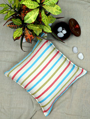 Multicolor Handwoven Cotton Cushion Cover (16in x 16in)