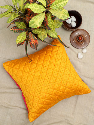 Yellow Handwoven Quilted Mashru Silk Cushion Cover (16in x 16in)
