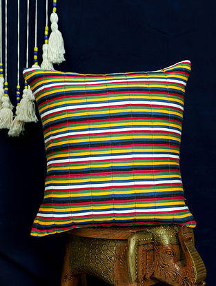 Multicolor Handwoven Quilted Mashru Silk Cushion Cover (16in x 16in)