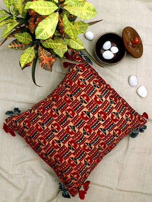 Crimson Red Block-printed and Hand-Embroidered Silk (16in x 16in)