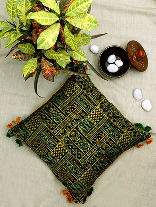 Green Block-printed and Hand-Embroidered Silk Cushion Cover (16in x 16in)