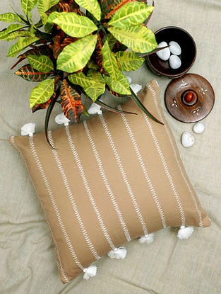 Brown Handcrafted Cotton Cushion Cover with Tassels (16in x 16in)